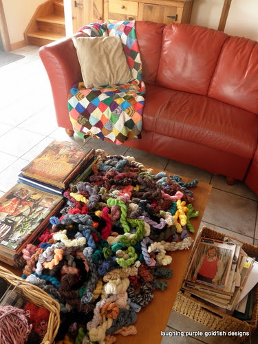 a table full of mini skeins