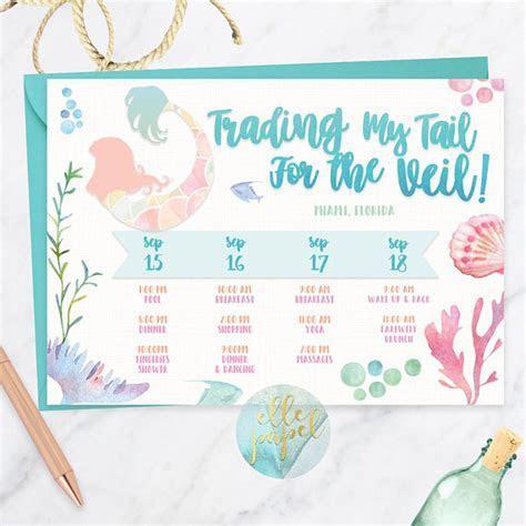 Mermaid Theme Tropical Itinerary, Bachelorette Itinerary