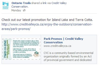 credit valley conservation promotion