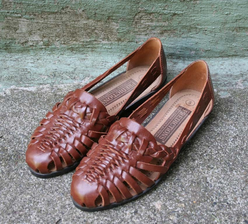 BROWN WOVEN Leather Huarache Flats, 5...RESERVED
