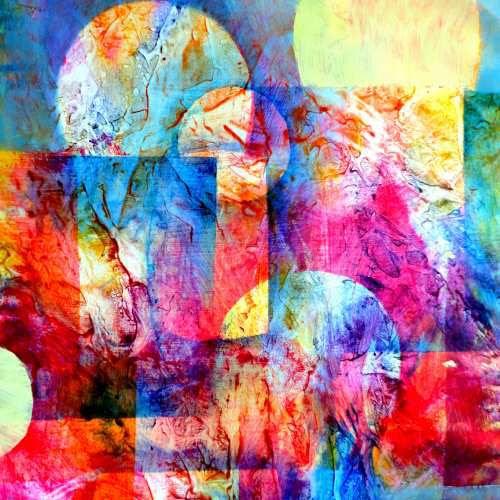 Tableau Abstrait Mixed Media En Peinture Acrylique Techniques En