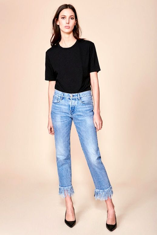 Le Fashion Blog Model Style Ruby Aldridge Black Tee Shirt Frayed Jeans Pointed Toe Pumps Via 3X1