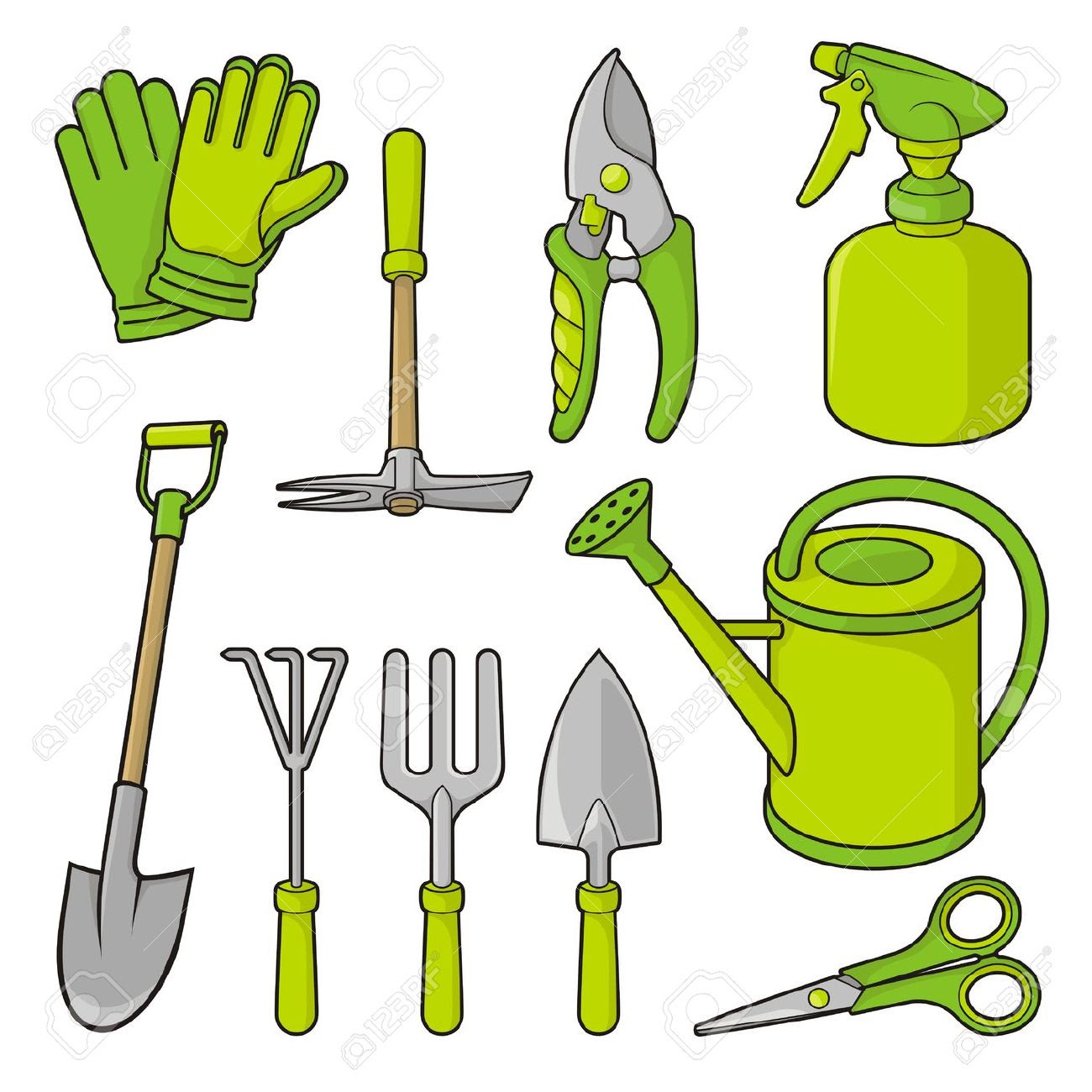 14308059 a set of gardening tool icons isolated on white background
