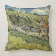 Thatched Cottages by Vincent van Gogh throwpillow