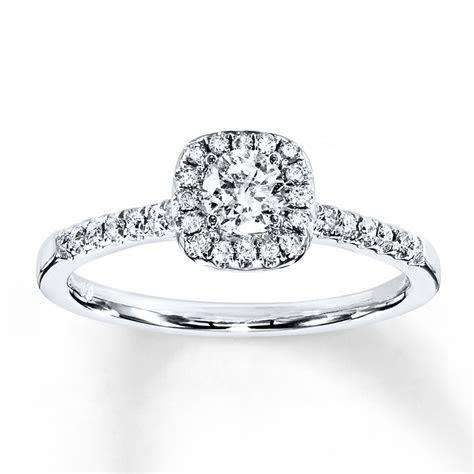 Diamond Engagement Ring 3/8 ct tw Round cut 10K White Gold