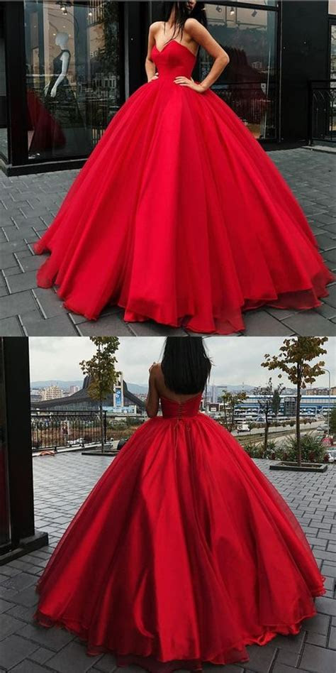 Ball Gown Prom Dresses Floor length Sweetheart Lace up Red