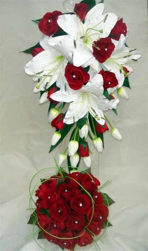 wedding bouquet setreal touch white lily red roses ebay