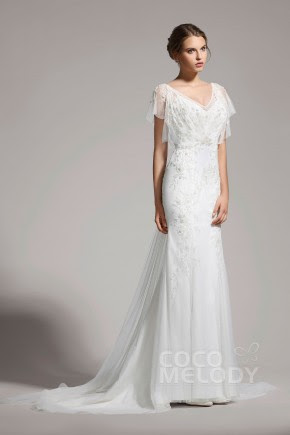 Delicate Trumpet-Mermaid V-neck Tulle Ivory Cap Sleeve Wedding Dress with Beading AWVT15001