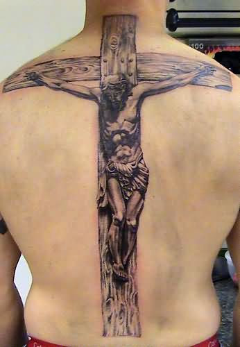 Jesus On Cross Tattoo On Back Body