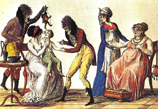 Grabado de la Biblioteca Nacional de París que muestra una escena caricaturizada del uso de la vacuna. Imágenes Institución Fernán González