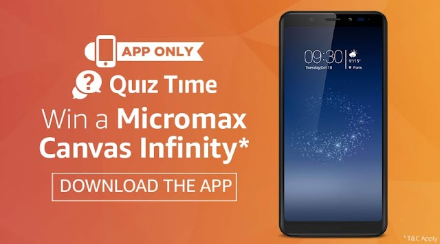(Answer added) Amazon App quiz: Answer and win Micromax Canvas Infinity