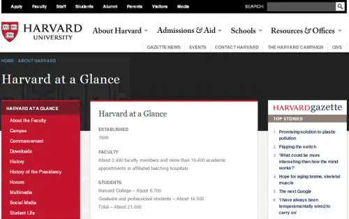 Captura sitio web Universidad de Harvard