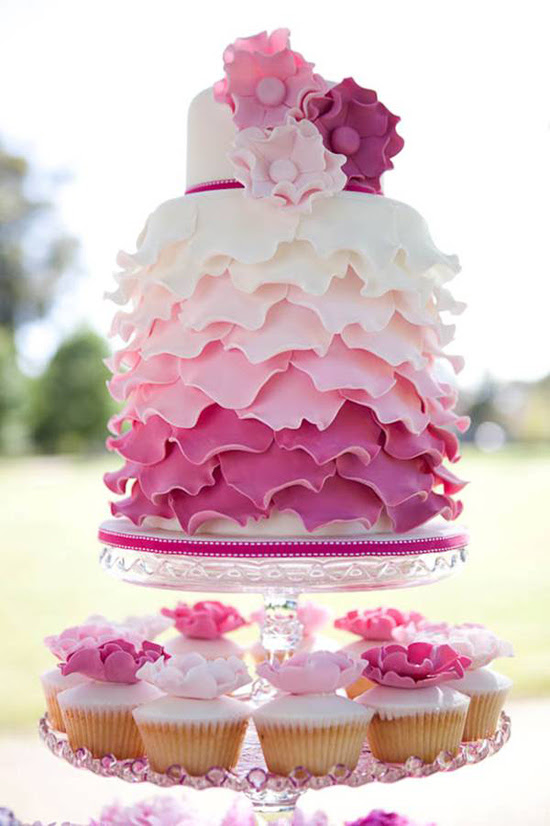 ruffle pink wedding cake Its Polka Dot Brides 5th Birthday!