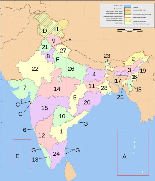 A clickable map of India exhibiting its states and territories.
