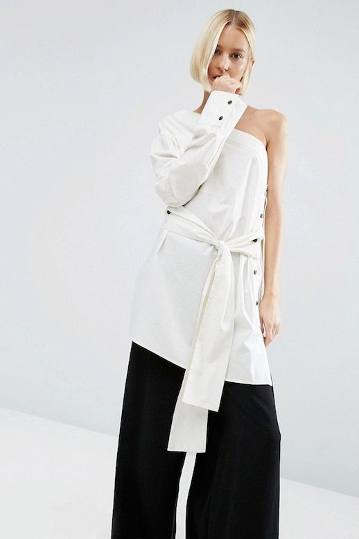 Le Fashion Blog Fall Style Blonde Short Hair White One Shoulder Tie Front Top Black Wide Leg Pants Via ASOS