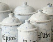 antique french enamel kitchen canisters, six vitreous enamel canisters, blue chickenwire, french shabby chic kitchen storage - culturalpollination