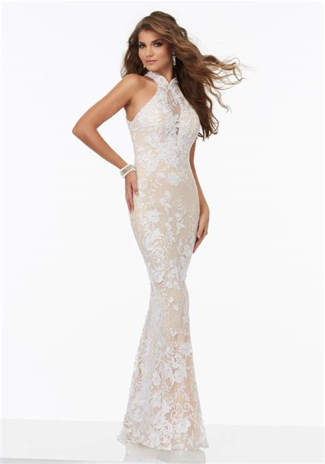 Lace Prom Dress with an Illusion Halter Neckline   Style