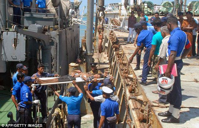 Dehydrated: Emaciated and starving, survivors were dragged to safety by the Sri Lankan navy 250 nautical miles off the island's eastern coast on Saturday