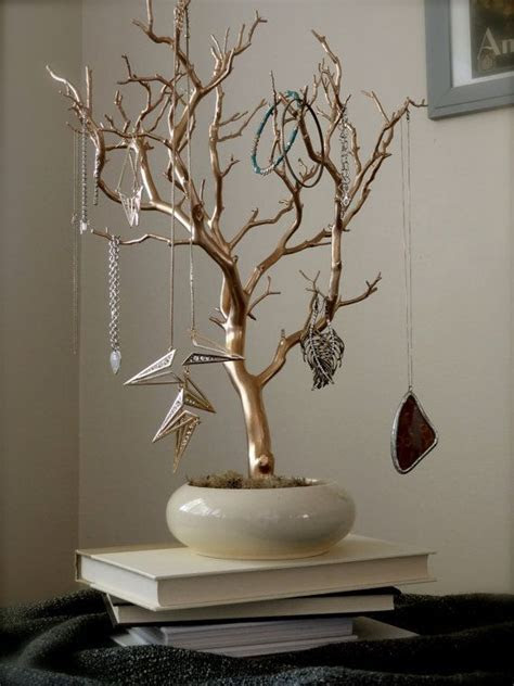 "Jewelry Holder Organizer Tree Gold and Cream 18"" painted"