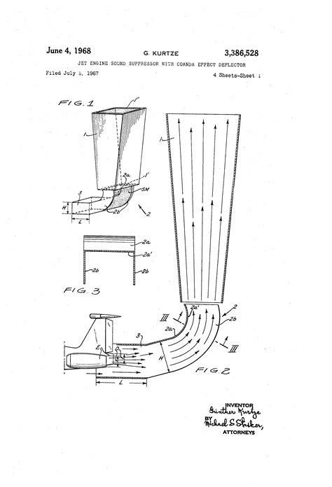 Patent US3386528 - Jet engine sound suppressor with coanda