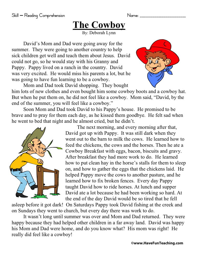 Reading Prehension Worksheet The Cowboy