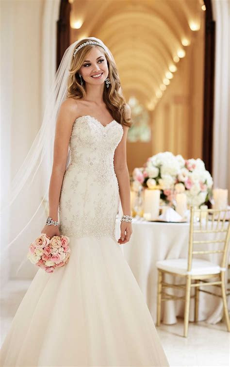 Sparkly Fit and Flare Wedding Dress with Train   Stella York