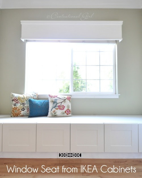 How to Make a Window Seat From IKEA Cabinets: ... - Happy ...
