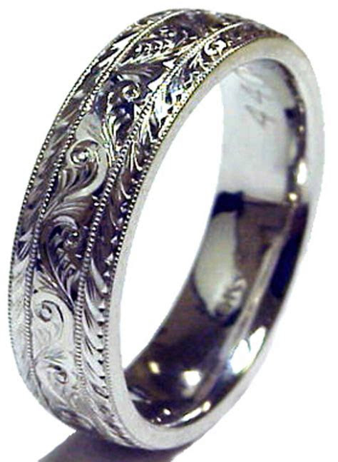 HAND ENGRAVED LADY'S SOLID PLATINUM 6MM WEDDING BAND RING