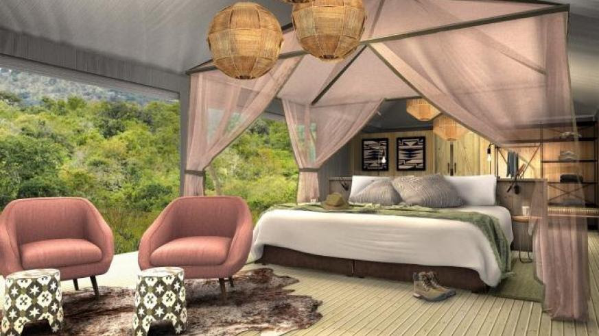 Artistic impressions of the the soon to be launched six-tented camp called Magashi, will be situated in the north-eastern part of Akagera overlooking Lake Rwanyakazinga. / Courtesy
