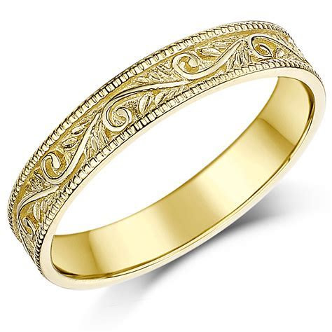 3.5mm 9ct Yellow Gold Swirl Patterned Wedding Ring Band