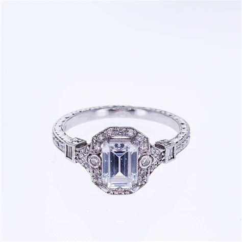 Art Deco Emerald Cut Diamond Engagement Ring (semi mount