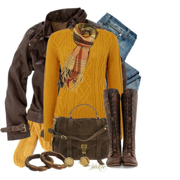 """""""Mustard and Brown"""" by jackie22 on Polyvore"""