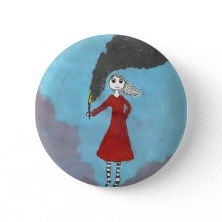 The Smoke Gothic girl button