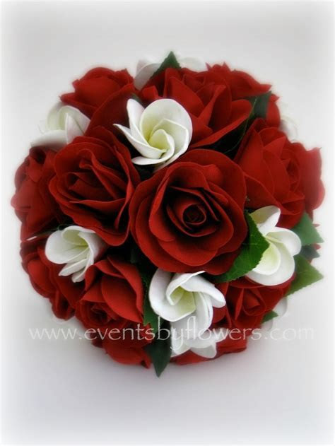 Real touch frangipani red roses wedding flowers bouquet