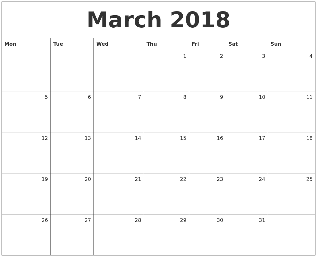 march 2018 monthly calendar monday start