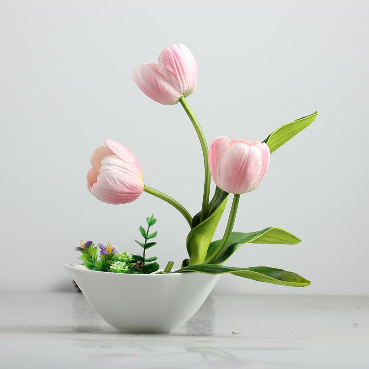 Artificial Flower Real Touch Tulips Flowers with Vase Set Tulip Artificial Flower Latex Wedding