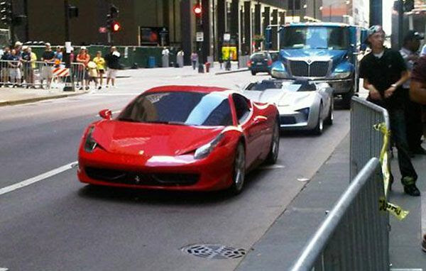 The Ferrari 458 Italia that will be an Autobot in TRANSFORMERS 3...with Sideswipe's Corvette convertible behind it.