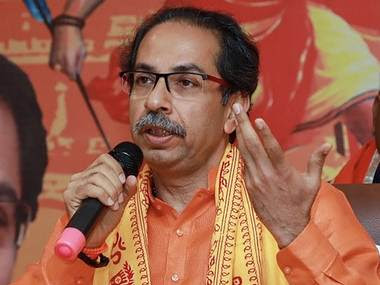 Maharashtra chief minister Uddhav Thackeray addresses a press conference in Ayodhya. PTI