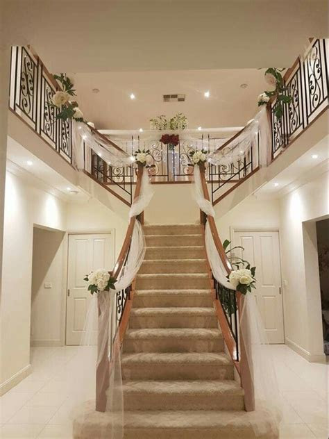 Wedding preparation. Staircase decor   stairs decor