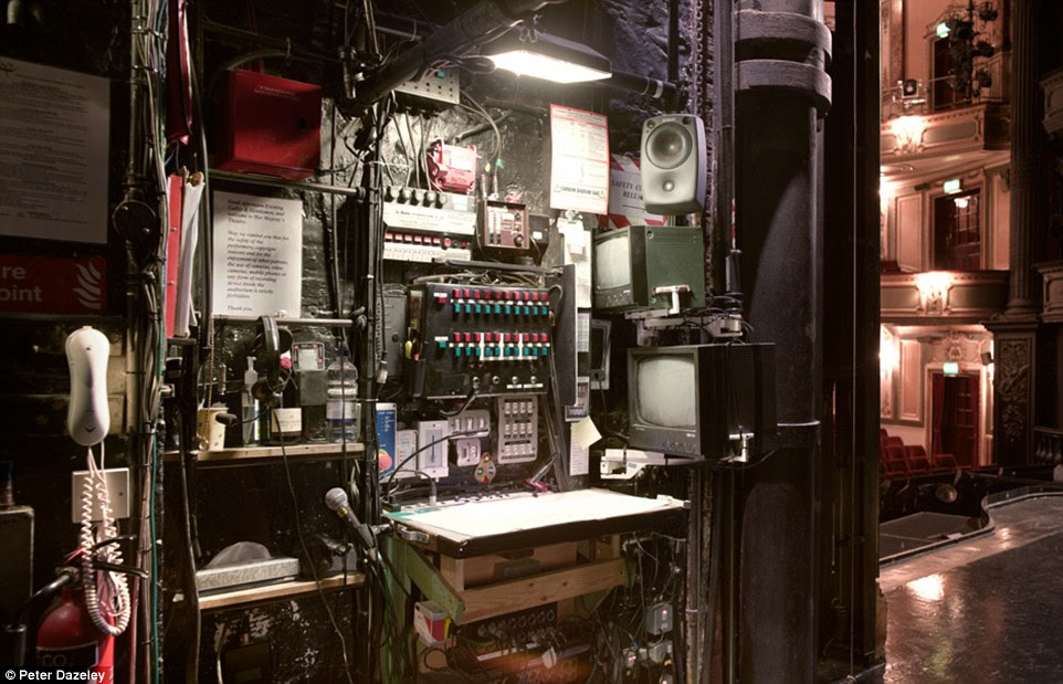 West End: The prompt desk at Her Majesty's Theatre. Since 1705 there have been four theatres on the site, and it has hosted The Phantom of the Opera since 1986