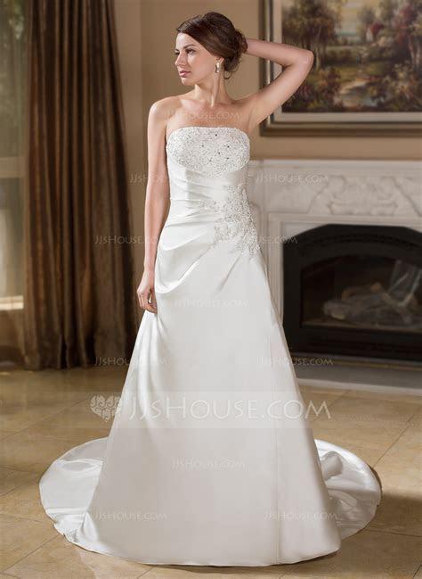 A Line/Princess Strapless Chapel Train Satin Wedding Dress