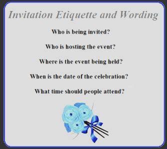 Invitation Etiquette and Wording