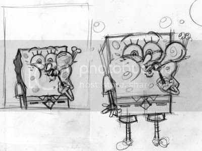 SpongeBob blows some more bubbles resembling his pet snail Gary - more rough preliminary drawings for SpongeBob SquarePants Nick magazine