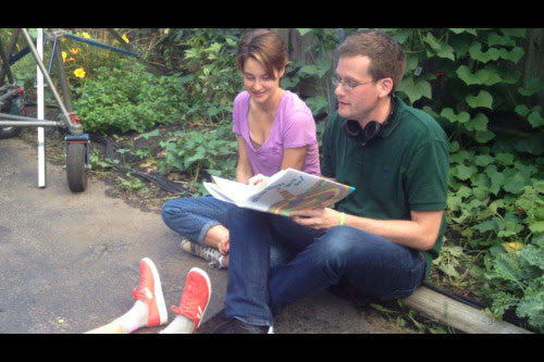 "Reading ""Oh, the Places You'll Go"" with Shailene Woodley on the set of the TFiOS movie."