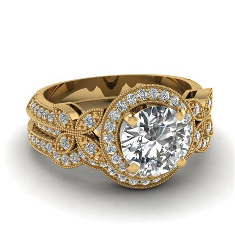 Yellow Gold Round White Diamond Engagement Wedding Ring In
