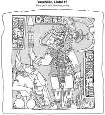 Yaxchilan Lintel 16, drawing by John Montgomery; source FAMSI