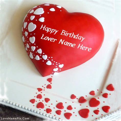 Red Heart Lovers Birthday cake Name Generator