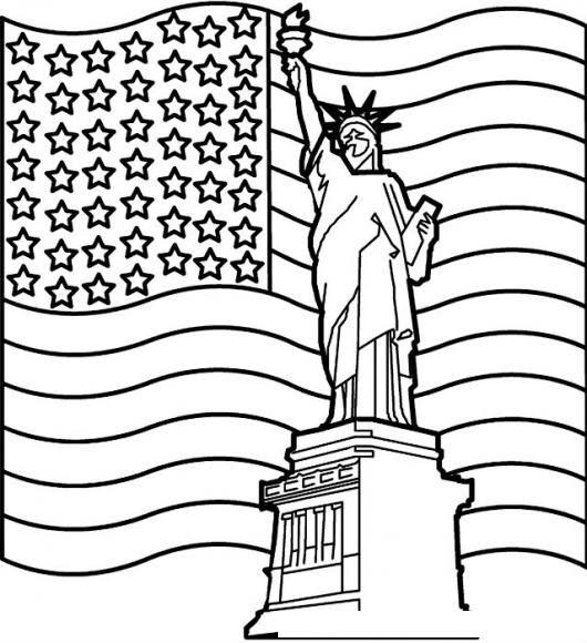 Dibujo De La Estatua De La Libertad Con La Bandera De Los Estados