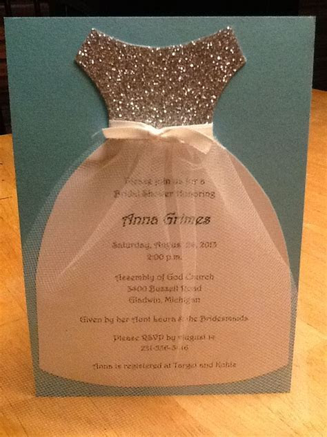 Bridal shower invitations. Cute dress with the invitation