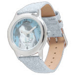 cute border collie dog with blue teddy bear watches
